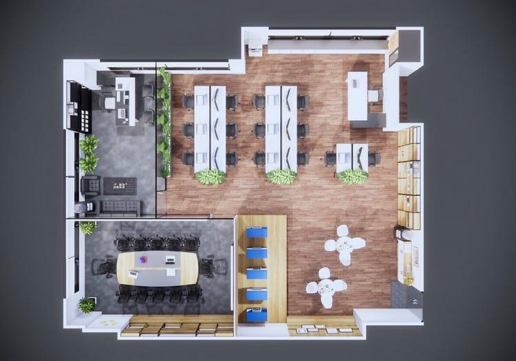 mẫu thiết kế nội thất văn phòng 100m2