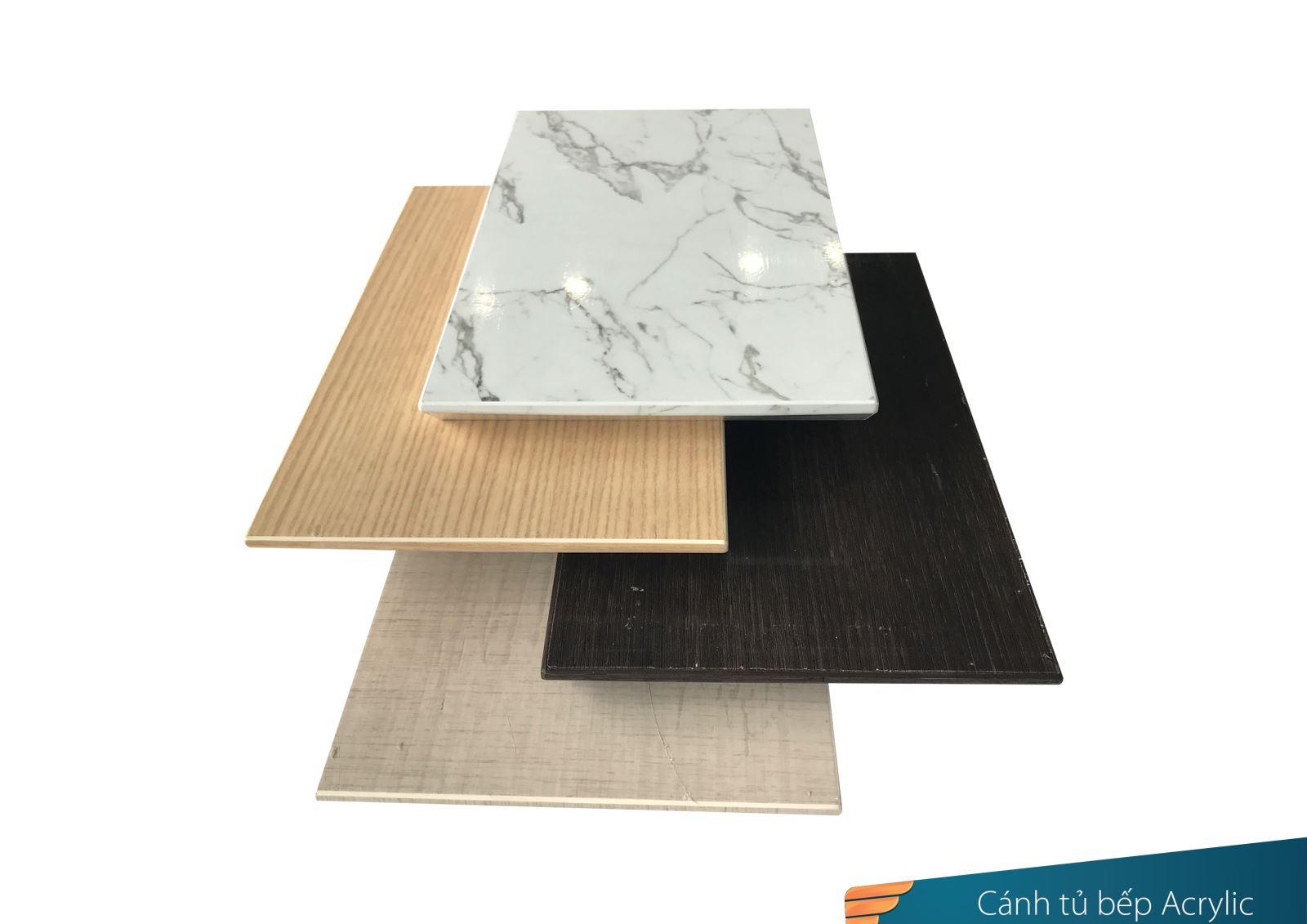 Cánh tủ bếp dán bề mặt Acylic trên tấm nhựa Picomat