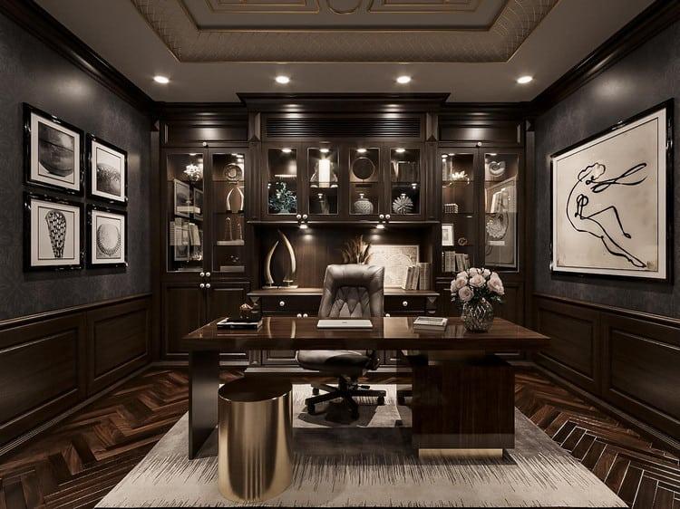 Thiết kế nội thất văn phòng giám đốc phong cách cổ điển