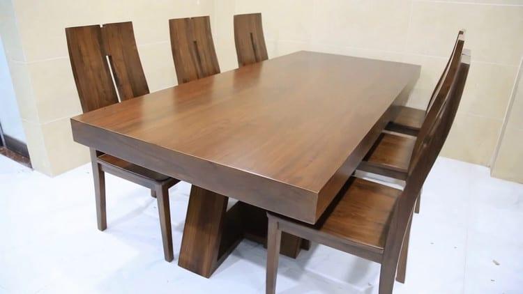 Bộ bàn ăn gỗ óc chó nguyên khối đẹp