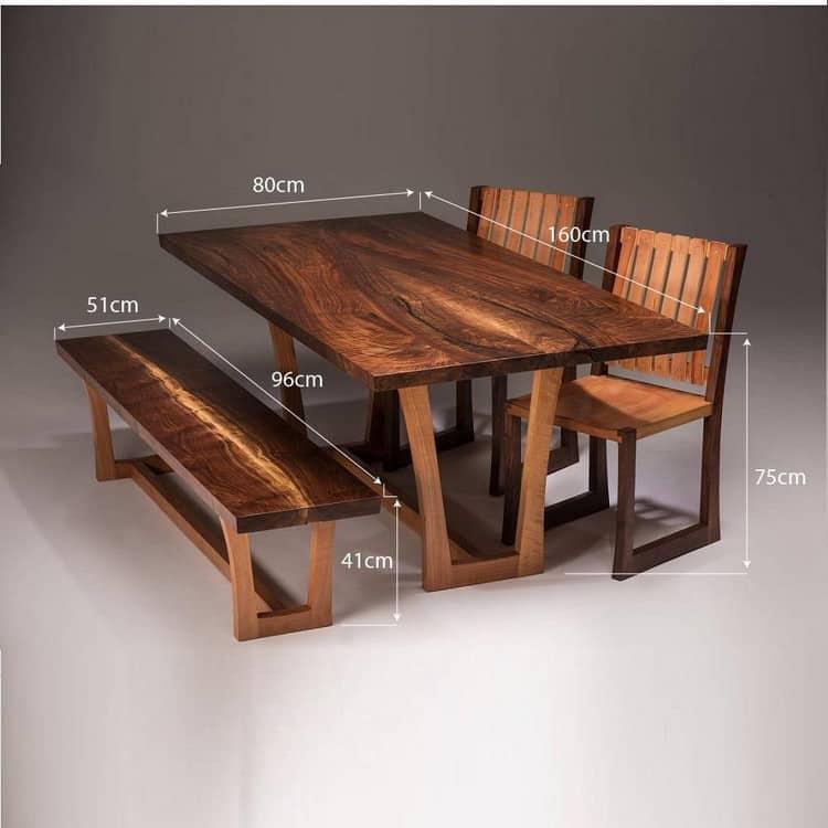 kích thước bộ bàn ghế ăn gỗ tự nhiên
