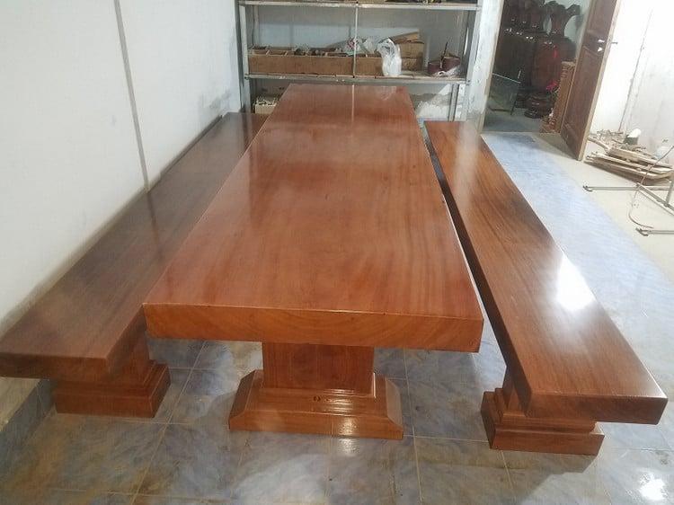 Bộ bàn ăn gỗ tự nhiên nguyên khối
