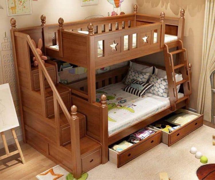 Mẫu giường tầng gỗ tự nhiên đẹp cho các bé