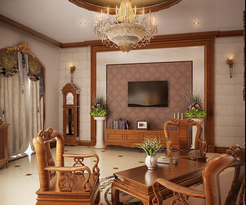 nội thất phòng khách gỗ hương