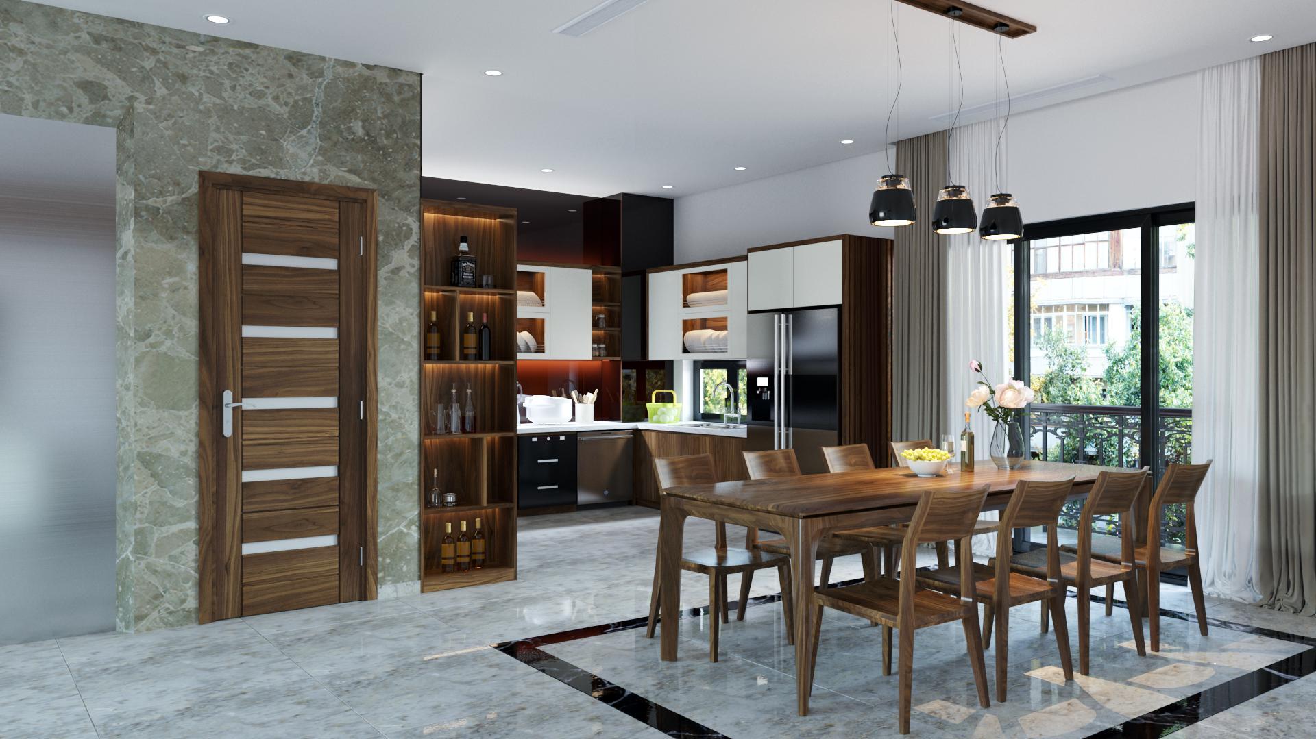 Thiết kế ánh sáng phòng bếp chung cư