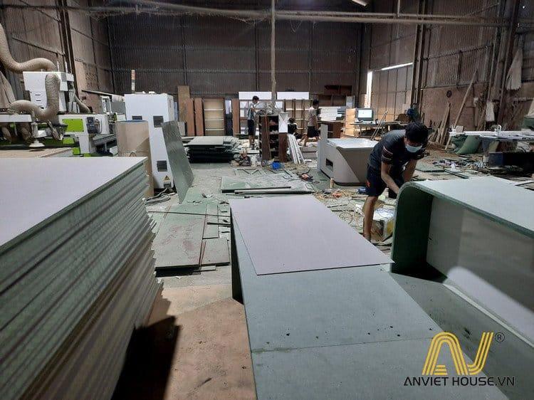 Gỗ MDF xanh chống ẩm tại xưởng gỗ Anviethouse