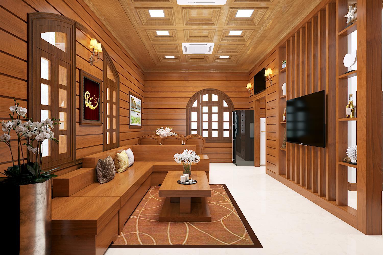 nội thất phòng khách gỗ gõ đỏ