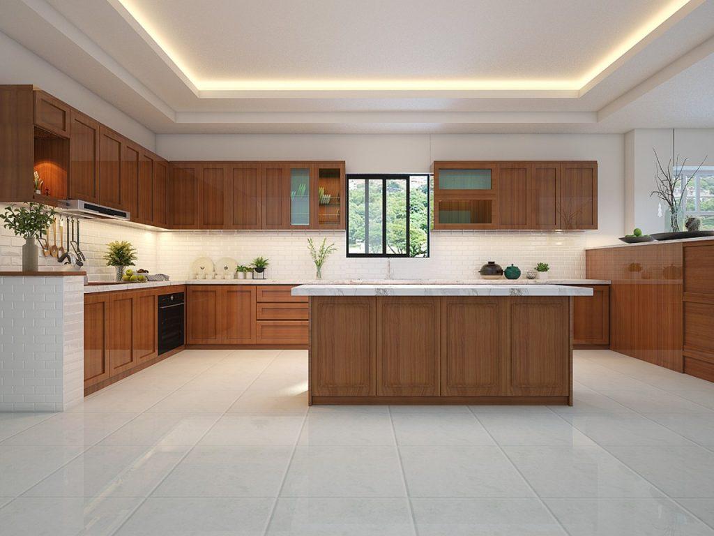 Không gian bếp từ gỗ gõ đỏ