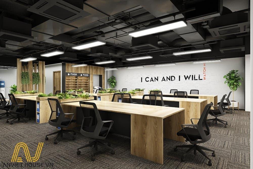 an viet house thiết kế văn phòng làm việc không gian mở
