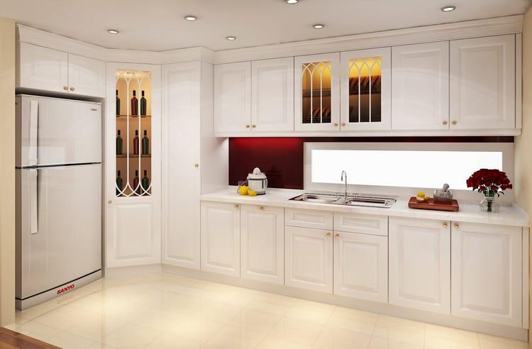 tủ bếp gỗ công nghiệp sơn trắng