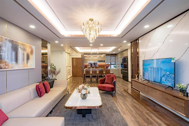 thiết kế phòng khách biền bếp chung cư