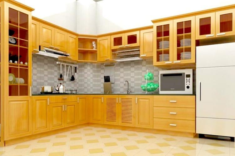 mẫu tủ bếp gỗ pơ mu đẹp