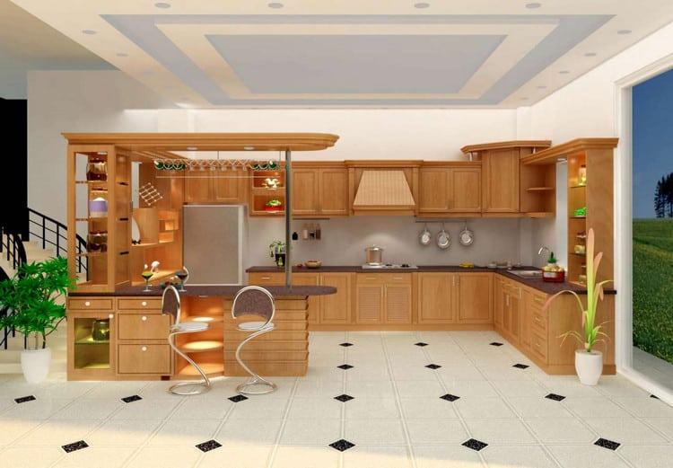 mẫu tủ bếp gỗ tự nhiên kết hợp quầy bar đẹp