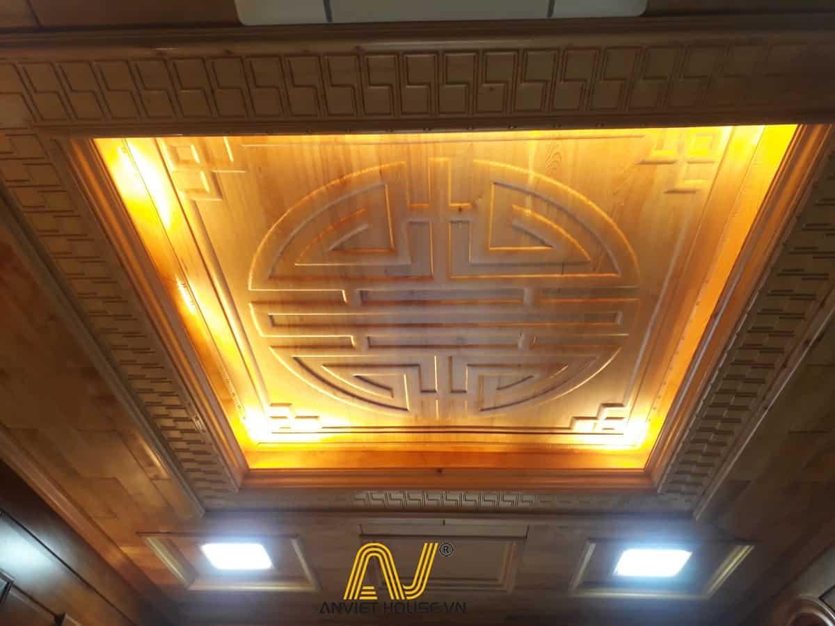 thi công trần gỗ pơ mu - nội thất phòng thờ