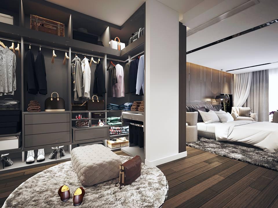 Phòng ngủ tích hợp phòng thay đồ