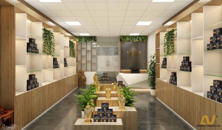 thiết kế thi công cửa hàng đông trùng hạ thảo