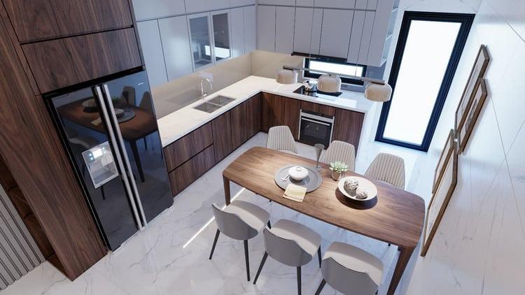 thiết kế nội thất phòng bếp hiện đại cho nhà ống