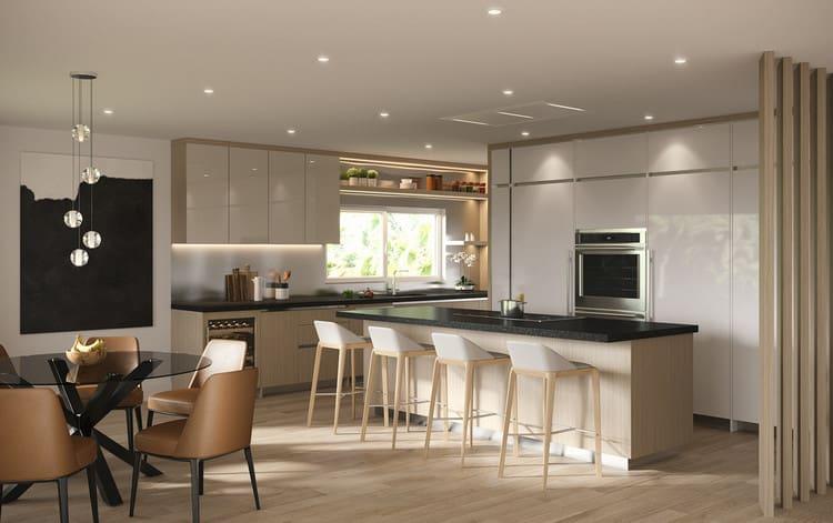 nội thất nhà bếp đẹp và hiện đại với cửa sổ