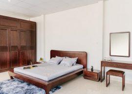 nội thất phòng ngủ gỗ sồi sơn màu óc chó