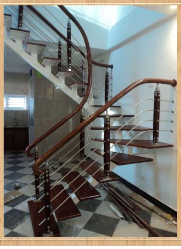 Cầu thang gỗ inox