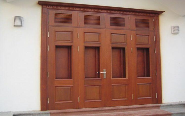 cửa 4 cánh từ gỗ lim đẹp