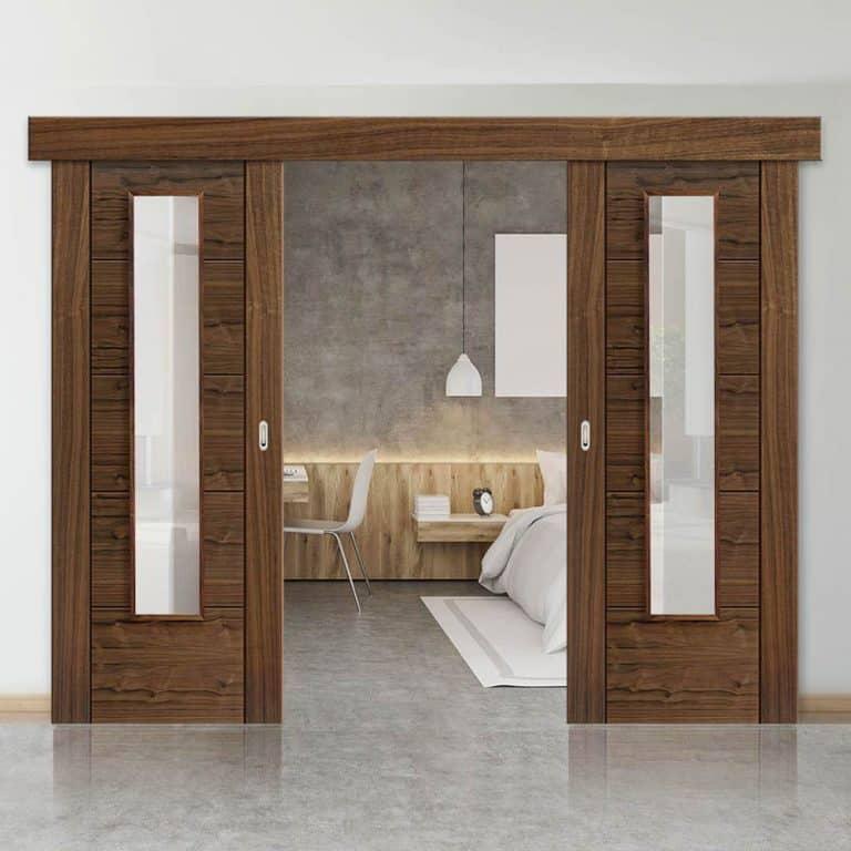 cửa gỗ lùa phòng ngủ