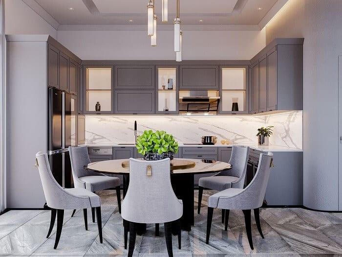 Nội thất phòng bếp hiện đại siêu sang biệt thự song lập