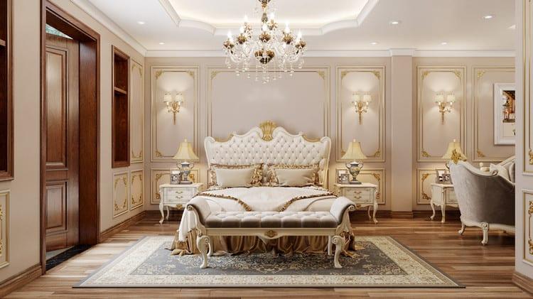 Nội thất phòng ngủ biệt thự song lập tân cổ điển