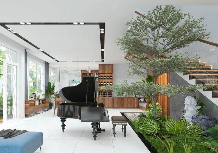 Không gian ngăn cách giữa phòng khách và bếp