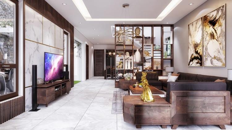 Thiết kế nội thất biệt thự gỗ óc chó