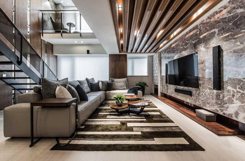 phòng khách biệt thự phong cách hiện đại