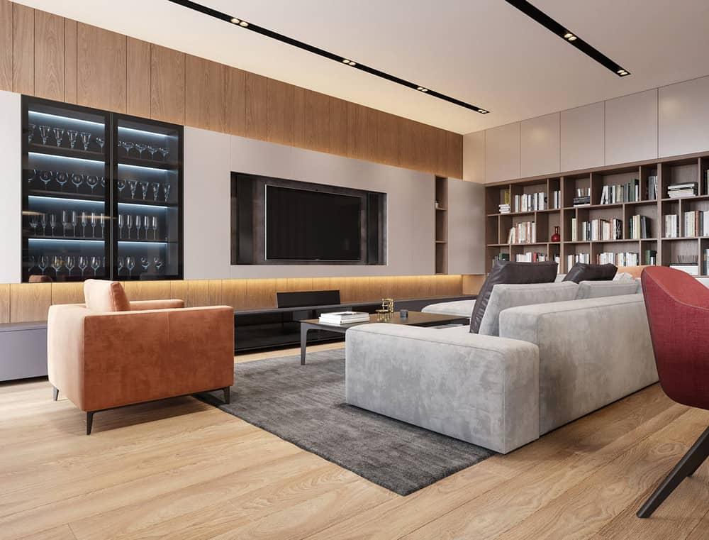 Nội thất phòng khách biệt thự phong cách hiện đại