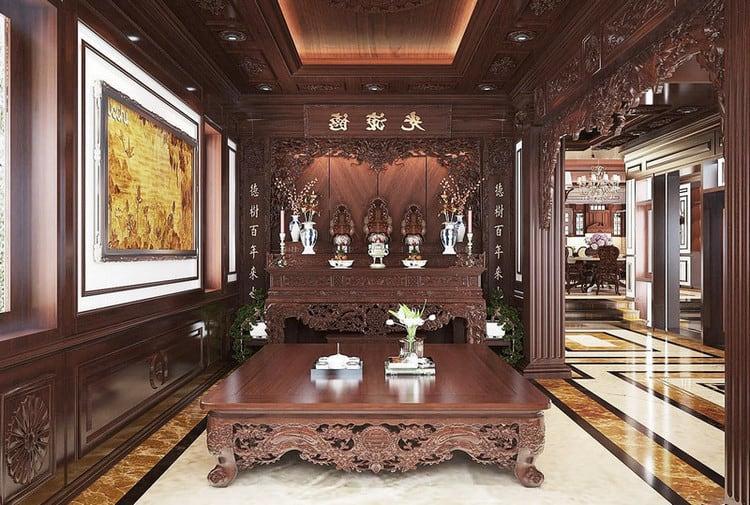 Thiết kế nội thất biệt thự cổ điển truyền thống Việt Nam