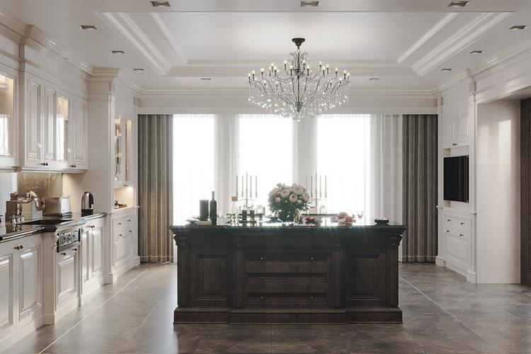 Thiết kế nội thất bếp biệt thự tân cổ điển