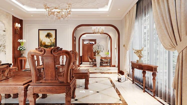 Nội thất phòng khách tân cổ điển hơi hướng Á Đông