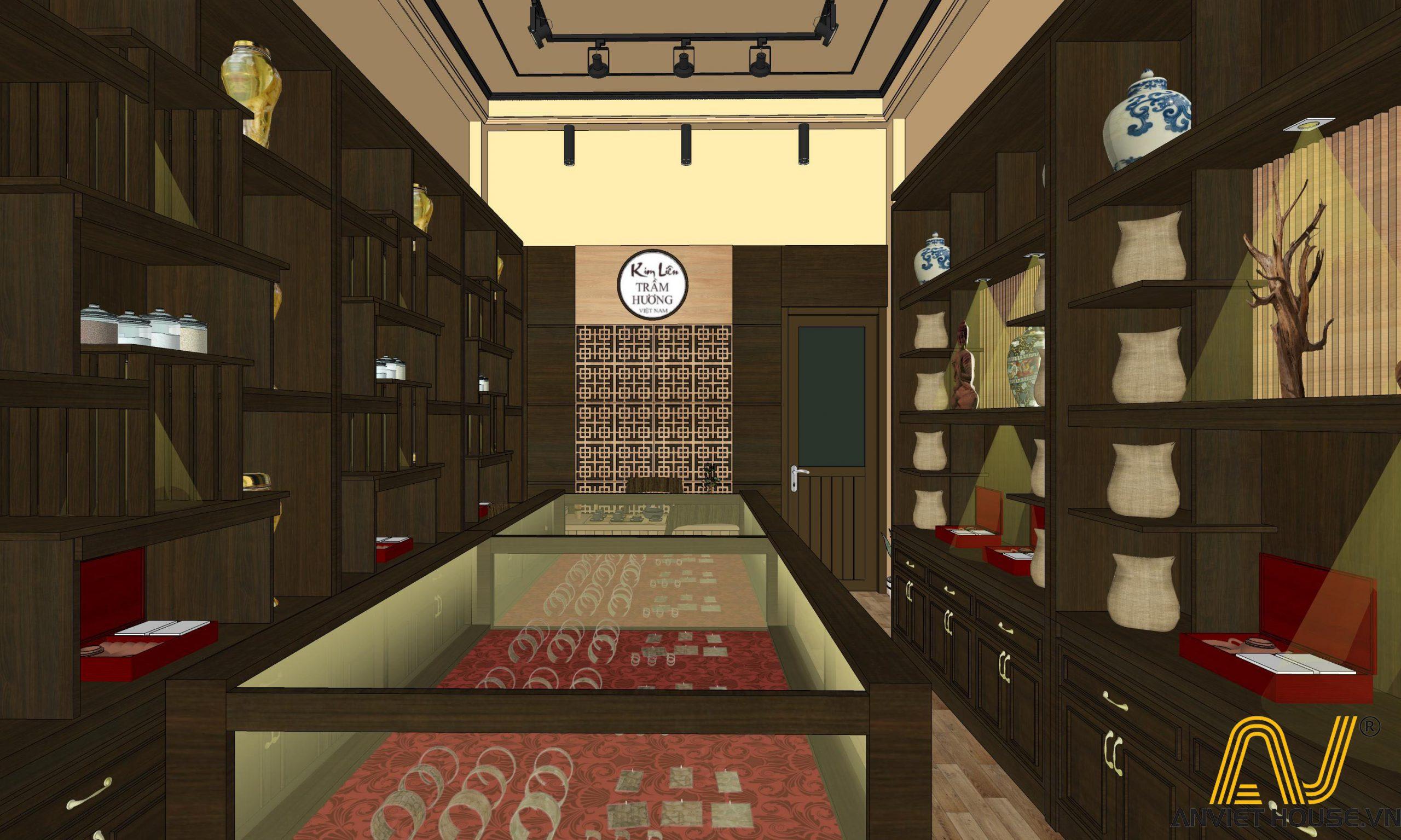 phối cảnh 3D cửa hàng trầm hương Kim Liên