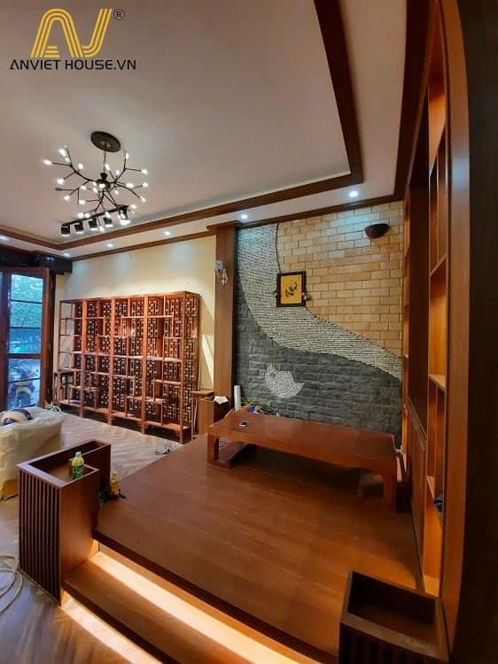 cửa hàng trầm hương Nhật Tâm - bàn trà gỗ Tần bì tự nhiên kết hợp gỗ công nghiệp Veneer