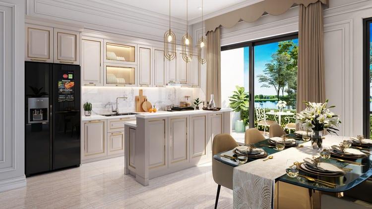 Thiết kế nhà bếp nhỏ đẹp đơn giản phong cách tân cổ điển