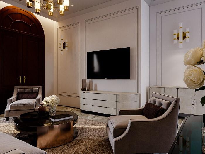 Nội thất phòng khách hiện đại siêu sang biệt thự song lập