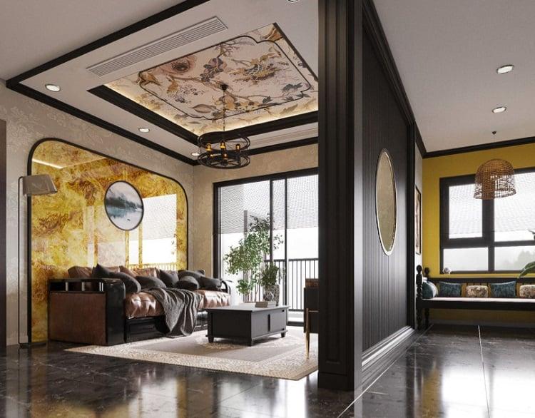 nội thất phòng khách biệt thự kiểu châu á