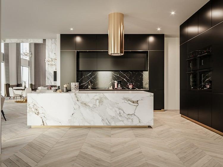 Thiết kế nội thất bếp biệt thự hiện đại siêu sang