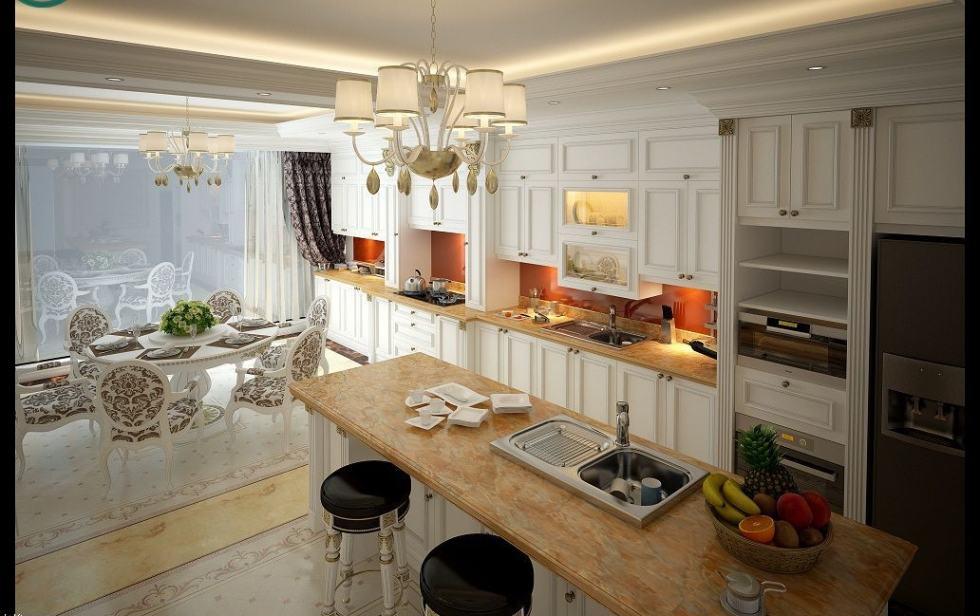 thiết kế nội thất bếp tân cổ điển