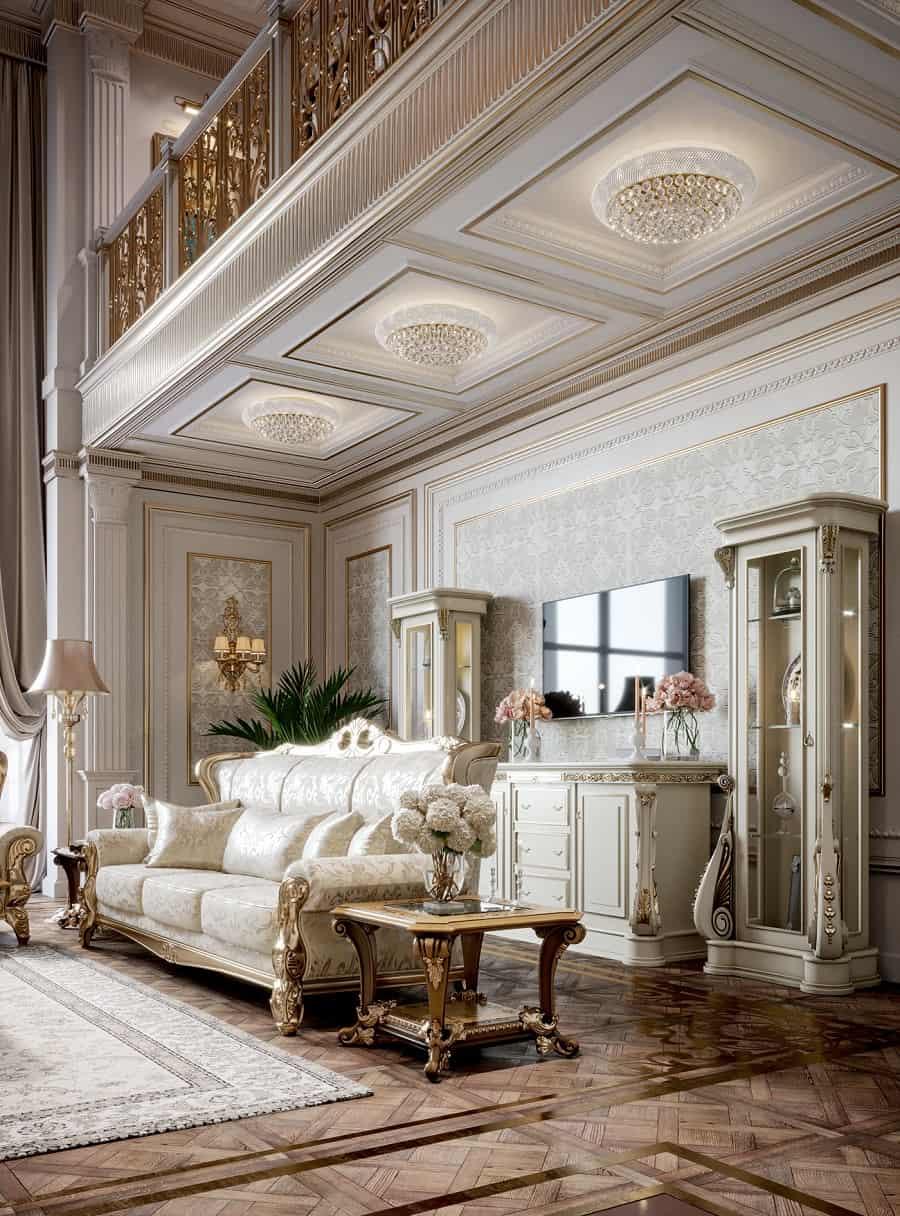 phòng khách cổ điển cho biệt thự