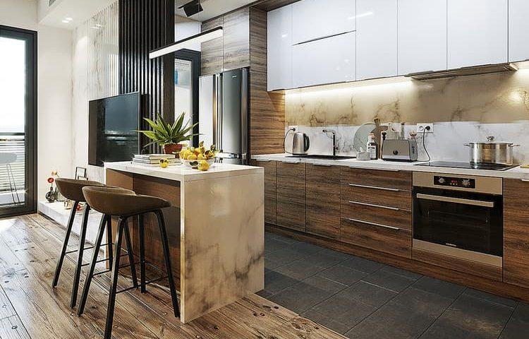 thiết kế phòng bếp chung cư kết hợp quầy bar