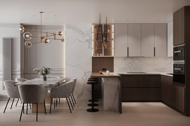 Thiết kế bếp đẹp chung cư với quầy bar mini