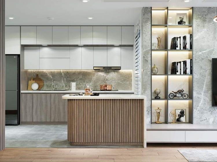 Sử dụng gỗ tự nhiên cho tủ bếp dưới