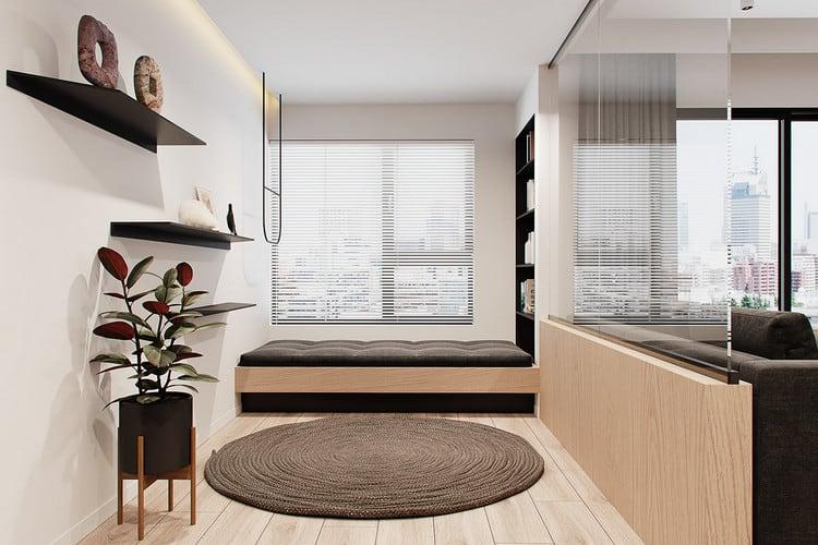 Mẫu chung cư đẹp 1+1 - phòng ngủ ngoài