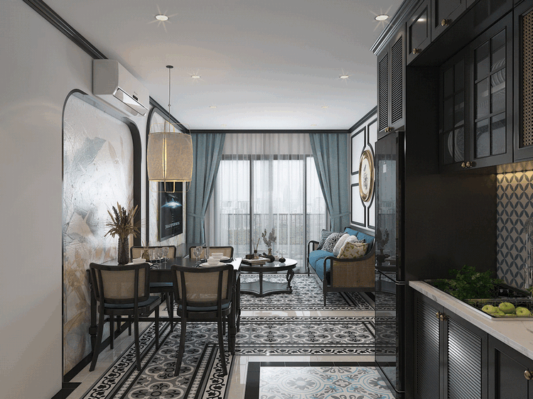 Bếp căn hộ phong cách đông dương