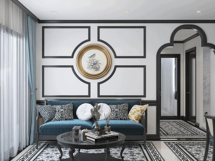 Thiết kế nội thất căn hộ chung cư cao cấp phòng khách phong cách đông dương