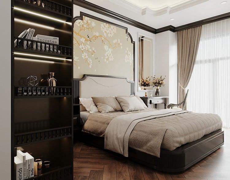 thiết kế căn hộ 90m2 3 phòng ngủ phong cách Đông Dương